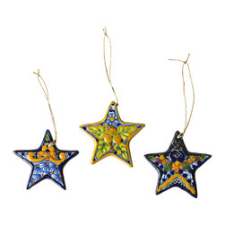 Native Trails - Talavera Star Ornament (Set of 3) - Our handpainted Talavera Star Christmas Ornaments bring the bright colors of summer to a holiday classic. Intricately painted by artisans and twice fired for vibrant colors that will last for generations, our Talavera Christmas Ornaments make a colorful statement on your Christmas tree, as a lasting holiday keepsake or a beautiful gift. Due to the hand-made nature of this piece, details of patterns and colors hues may vary, which makes each ornament a unique work of art.