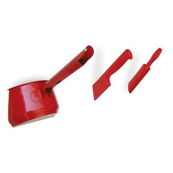 Set of 3 hook  Knife, Saucepan and Rolling pin, Red - A collection of hooks in the form of pre-thrown kitchen utensils. The set comprises a knife, saucepan and rolling pin.