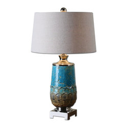 Uttermost - Blue Ceramic And Polished Nickel Manzu Table Lamp With Round Shade - Blue Ceramic And Polished Nickel Manzu Table Lamp With Round Shade