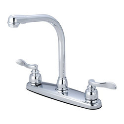 "Kingston Brass - Double Handle 8"" Centerset High-Arch Kitchen Faucet - The Nuwave French faucet captivates with its soft curves and contemporary European elegance. The kitchen faucet features a double handle setup and an 8"" centerset platform. The body is fabricated from solid brass for durability and long-lasting use. The color finish is made of polished chrome for that reflective shine, as well as resisting scratches, corrosion and tarnishing. The high-arch spout rotates 360 degrees for accessibility and convenience. The handles function with a 1/4-turn rotation to control the water's volume. The faucet also operates with the use of a washerless cartridge for drip-free functionality; with a 2.2 GPM (8.3 LPM) and a 60 PSI maximum rate. An integrated removable aerator is inserted beneath the spout's head piece for conserving water flow. A 10-year limited warranty is provided to the original consumer.; Sprayer Not Included; 1/4 Turn Washerless Cartridge; Nu-French Lever Handle; 7"" Hi Reach Traditional Spout; 3 hole Installation with 9"" spout clearance; Material: Brass; Finish: Polished Chrome; Collection: NuWave French"