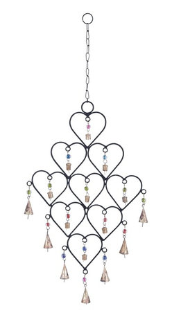Metal Heart Wind Chime with artistic design - Bring love and happiness to your home with a bouquet of hearts! This Metal Wind Chime with Symmetrical Heart Design is your ticket into your special someone?s heart. Made from metal, it features 9 symmetrical hearts arranged in a delightful pattern. Each heart has a colorful bead and a bell attached via a metal link. Hang this wind chime up in your bedroom to instantly add a romantic charm to the decor. The metallic chain and link are strong and durable so that you don?t have to worry about this work of art falling down, once hung up. All the horizontal hearts feature similar colored beads adding artistic symmetry to this lovable showpiece. It stands as a metaphor for your unquantifiable love for them.  Made from metal that is rust-resistant and durable, you don?t need to take it down during the rains. It makes for an excellent gift for Valentine?s Day.. It comes with a dimension: