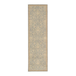 """Nourison - Nourison Riviera RI02 2'3"""" x 8' Blue Area Rug 41826 - A soft blue-grey background appears incandescent when dramatized by a striking gold design. Sublimely textured and highlighted with silken accents for a gorgeous glow, this extravagant rug is opulence incarnate."""