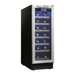 Danby - Danby Silhouette DWC276BLS 27 Bottle Wine Cooler - DWC276BLS - Shop for Wine Refrigerators from Hayneedle.com! Additional features: Integrated 12-inch wide application Interior blue LED display light Integrated child-proof door lock with lock and key Humidity reservoir With its sleek design and convenient features the Danby Silhouette 27 Bottle Wine Cooler features the best of both worlds. Seven sliding black wire shelves allow you to create a customized setup for easy organization and retrieval of wine bottles. An interior LED display allows you to see a precise temperature readout while the 27-bottle capacity holds a moderate collection of wines. You can also lock the cooler to safeguard your favorite wines. Use this cooler for long term storage dinner parties or as an attractive addition to any home bar. Note: Single Zone wine coolers are intended to store only one type of wine at a time as they have only one temperature zone that can be set to cool either red white or sparkling wine. About Danby ProductsDanby is one of the largest household appliance marketing companies in North America with an impressive lineup of compact specialty and home comfort appliances to suit the lifestyles of today's consumer. Danby's reputation as a leader in the appliance market has been achieved by researching what consumers want and providing quality innovative products at competitive prices to fit their lifestyles.