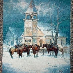 `Sunday Social Club` Horses Tapestry Throw Blanket 50 Inch X 60 Inch - This multicolored woven tapestry throw blanket is a wonderful addition to your home. Made of cotton, the blanket measures 50 inches wide, 60 inches long, and has approximately 1 1/2 inches of fringe around the border. The blanket features horses tied to a hitching rail outside of a church on a snowy day. Care instructions are to machine wash in cold water on a delicate cycle, tumble dry on low heat, wash with dark colors separately, and do not bleach. This comfy blanket makes a great housewarming gift that is sure to be loved.