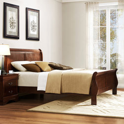 Tribecca Home - TRIBECCA HOME Milford Louis Phillip Warm Brown Traditional King-size Sleigh Bed - Bring clean and contemporary elegance into your bedroom with this modern wood king bed that has slight traditional touches such as slight curves in the foot board and head board. It is made from a beautiful,highly polished rubberwood.