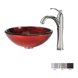 Kraus - Kraus Charon Glass Vessel Sink and Riviera Faucet Satin Nickel - *Add a touch of elegance to your bathroom with a glass sink combo from Kraus