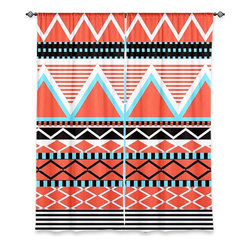 """DiaNoche Designs - Window Curtains Lined by Organic Saturation - Coral Tribal - Purchasing window curtains just got easier and better! Create a designer look to any of your living spaces with our decorative and unique """"Lined Window Curtains."""" Perfect for the living room, dining room or bedroom, these artistic curtains are an easy and inexpensive way to add color and style when decorating your home.  This is a woven poly material that filters outside light and creates a privacy barrier.  Each package includes two easy-to-hang, 3 inch diameter pole-pocket curtain panels.  The width listed is the total measurement of the two panels.  Curtain rod sold separately. Easy care, machine wash cold, tumble dry low, iron low if needed.  Printed in the USA."""