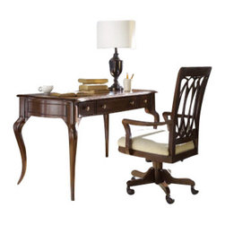 Hammary - Hammary Cherry Grove Writing Desk w/ Chair in Mid Brown - Belongs to Cherry Grove Collection by Hammary, 3 Drawers, Middle Drawer is Drop Down Keyboard Tray, Finished all Around, Mid Tone Brown finish, Writing Desk 1, Chair 1