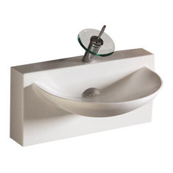Whitehaus Collection - Whitehaus WHKN1114 Ceramic U shape Wall Mount Isabella Bathroom Sink Basin - Whitehaus Collection bathroom sinks are modern sleek and stylish. A great option for anyone that wants a unique and eye catching bathroom design!