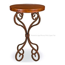 """Mathews & Company - Alexander Accent Table with 18"""" Round Top - Hand crafted by skilled wrought iron artists at Mathews & Co., the Alexander Accent Table is a unique and striking blend of practical function, artistic form, and personal expression. Obviously a convenient table, it is also a one-of-a-kind work of art, masterfully crafted to your exact specifications. To complement the table's beautiful and durable copper top, you can personalize the wrought iron base with one of four finishes: natural black, rust, aged pewter, and aged bronze. Choose the finish that highlights your style while completing the quiet elegance of whatever room you choose for your Alexander Accent Table. Pictured in Copper top and Aged Bronze finish."""