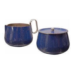Blue Cream and Sugar Set - Vintage French blue cream and sugar set