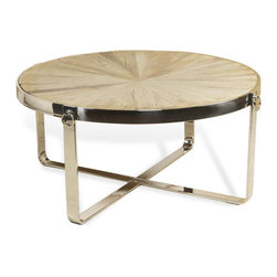 Interlude - Interlude Monaco Cocktail Table - Recycled elm and stainless steel makes brings elegance to this industrial design.