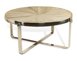 Interlude - Monaco Cocktail Table - Recycled elm and stainless steel makes brings elegance to this industrial design.
