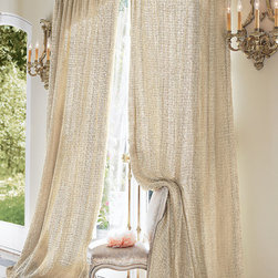Raw Silk Woven Drapery Panel - From cottage to contemporary, lush raw silk fiber in a charmingly homespun open weave design (lined in tonal muslin) provides the perfect complement to so many current looks.