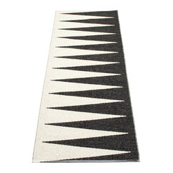 Pappelina - Pappelina Vivi Plastic Runner, Black, 2 X 5 - This  rug from Pappelina, Sweden, uses PVC-plastic and polyester-warp to give it ultimate durability and clean-ability. Great for decks, bathrooms, kitchens and kid's rooms.