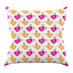 """Kess InHouse - Apple Kaur Designs """"Tea-Birds"""" Orange Pink Throw Pillow (16"""" x 16"""") - Rest among the art you love. Transform your hang out room into a hip gallery, that's also comfortable. With this pillow you can create an environment that reflects your unique style. It's amazing what a throw pillow can do to complete a room. (Kess InHouse is not responsible for pillow fighting that may occur as the result of creative stimulation)."""