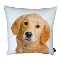 Lava - Golden Retreiver 18X18 Decorative Pillow (Indoor/Outdoor) - 100% polyester cover and fill.  Suitable for use indoors or out.  Made in USA.  Spot Clean only