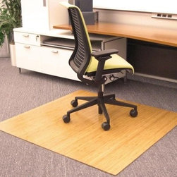 Natural 48 x 52 Bamboo Roll-Up Office Chair Mat - 1/4 Inch Thick - Is the carpet in front of your desk wearing down from hours of sitting in your office chair? Is the floor hard and unforgiving? The Natural 48 x 52 Bamboo Roll-Up Office Chair Mat - 1/4 Inch Thick offers you the floor protection and flexible comfort that you need. This beautiful mat is made of durable 100 percent Anji Mountain bamboo. The honey-oak finish has a pure and natural appearance which will bring fresh warmth to your workspace. Premium felt backing provides extra cushioning for your chair as well as protecting the floor surface underneath the mat. When relocating to a new office or rearranging your home office all you have to do is roll up the mat like a rug and unroll it in its new location. Although this bamboo mat is an excellent way to preserve your floor while adding comfort and style to your office furniture it's not recommended for chairs with metal casters.About Anji Mountain Bamboo Rug Co.Anji Mountain Bamboo rugs and office chair mats are ecologically friendly. Bamboo has a robust root system that generates multiple new shoots for every mature stalk that is harvested. Unlike hardwood that can take decades to grow to a mature height ready for harvest bamboo grows 8 to 12 feet a year! When you purchase a rug or office mat from Anji Mountain Bamboo Rug Co. you help support the ecologically responsible practice of regulating sustainable bamboo forests instead of clear-cutting old-growth hardwood forests.The dense durable bamboo that Anji Mountain Bamboo Rug Co. uses is carbonized and kiln-dried to remove moisture which helps prevent cracking and warping. Because of this process their bamboo rugs and office chair mats are ready to withstand the dry heat of your home or office in the wintertime or the arid climate of the desert and mountains.