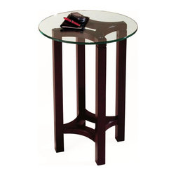 Magnussen Furniture - Round Accent Table - Juniper Tables - Juniper displays a sleek mink brown finish on all tables and ottoman bases. Ottoman top features camel microfibre seats. Tempered five millimeter glass tops with one inch bevels are used on end, cocktail and sofa table. Tempered ten millimeter glass is utilized on our accent table. All Juniper tables are crafted of hardwood solids and all wood products. 18 in. W x 18 in. D x 26 in. H