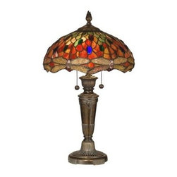 Dale Tiffany - Decorative Lamp: 24.75 in. Pearce Dragonfly Fieldstone Table Lamp TT12087 - Shop for Lighting & Fans at The Home Depot. This colorful table lamp is a vivid twist on the iconic Tiffany dragonfly lamp. Intricate filigreed dragonflies in light amber are set against a fiery background of reds, oranges, yellows, greens and blue. Art glass jewels are interspersed throughout the shade to add extra sparkle when the lamp is illuminated. The metal base, finished in fieldstone, is reeded and embellished with a ram s head detail. Perfect for a living room, den, bedroom or office, this lamp will be the centerpiece of any room where it is displayed.