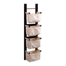 Winsome - Storage/Magazine Rack with 4 Canvas Baskets - This magazine rack is a convenient and attractive storage unit. With ability to hang vertically or horizontally. Its 4 canvas baskets are great to keep your room in order.