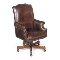 """Hooker Furniture - Appomattox Campaign Brown Executive Swivel Tilt Chair - White glove, in-home delivery!  For this item, additional shipping fee will apply.  Developed by one of America's premier manufacturers to offer quality furniture at affordable prices.  Each piece is meticulously hand-crafted using the most exquisite leathers in the world.  The Appomattox Campaign Chair Brown Executive Swivel Tilt Chair is crafted using Appomattox Campaign Chair Brown leather.  Frame Construction- Kiln dried, laminated, and select hardwoods that are precision machined for fluid and consistent shape.  Seat Height adjusts: 19 3/4"""" h to 22 3/4"""" h   Arm Height adjusts: 26 3/4"""" h to 29 3/4"""" h  Inside dimensions: 17 1/4"""" w x 19 1/2"""" d  Padding- Pattern cut urethane foam that is padded with felt polyester fibers, assuring the important qualities of comfort, loft, resilience, and good recovery.  Seat- A high resilient, high density foam core wrapped with virgin polyester fibers, assuring luxurious comfort and pleasing crown appearance.  This is then covered with a special ticking for pillow soft comfort.  Seat Back- Filled with precision cut foam and highly resilient polyester fibers or filled with 100% virgin polyester fibers enclosed in a special ticking for pillow soft comfort.  The color of fabric and leather may vary from that shown on screen."""