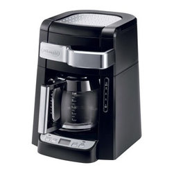 Delonghi DCF2212T 12-Cup Programmable Coffee Maker with Glass Carafe - There's nothing like that first cup of coffee in the morning and the Delonghi DCF2212T 12-Cup Programmable Coffee Maker with Glass Carafe helps you enjoy that experience even more. This high-quality coffee maker features an easy front-access design. Just pull out the handle to get access to the water and included gold tone filter. Its time-release function saturates the grounds slowly to get the most flavor possible for a full-bodied cup you'll love waking up to. Other features include as 24-hour programmable digital timer, 12-cup capacity, and handy 2-hour auto shut-off.About De'Longhi USAFounded over a century ago when the De'Longhi family opened a workshop in Treviso, Italy the De'Longhi brand set the standard for handcrafted quality and expert craftsmanship. Three generations later, the people at De'Longhi believe design is timeless, and strive to find beauty in everyday objects to bring style to your home. Expert manufacturing is also high on their priorities. De'Longhi tests their espresso machines to ensure that tens of thousands of perfect cups can be brewed by a single machine. They put all their products through the same rigorous tests, and their factory features an entire wing devoted to product testing. De'Longhi works under the philosophy that the most beautiful product in the world is worthless if it's not built to last. Finally, De'Longhi believes design is so much more than aesthetics. Design is ways to make people's lives easier. From their patented single touch systems to self-adjusting temperature controls, they believe it's the small details that make a huge impact on how people enjoy a product.