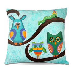 DiaNoche Designs - Birds of a Feather Pillow - Soft and silky to the touch, add a little texture and style to your decor with our woven linen throw pillows. 100% smooth poly with cushy supportive pillow insert, zipped inside. Dye Sublimation printing adheres the ink to the material for long life and durability. Double sided print. Machine washable. Product may vary slightly from image.
