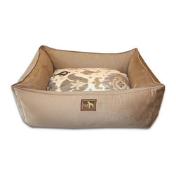 """Luca for Dogs - Large Camel Lounge Bed, Heirloom Camel - This beautifully designed bed allows your dog to stretch out and stay ultra cozy. Our signature """"easy-wash"""" sheet covers make washing easy and quick. Overstuffed with 100% recycled fiber. Nylon liner protects the inner pillow. 100% washable."""