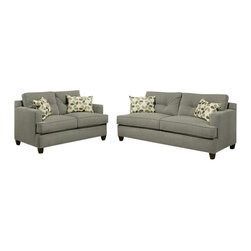 "Benchley - 2-Piece Auckland Gray Fabric Upholstered Sofa and Love Seat - 2-Piece Aukland gray fabric upholstered sofa and love seat set with square set back arms. Sofa measures 82"" x 37"" x 38"" H. Love seat measures 61"" x 37"" x 38"" H. Ottoman also available separately. This set comes as shown or can be ordered in additional fabrics upon request at an additional cost."
