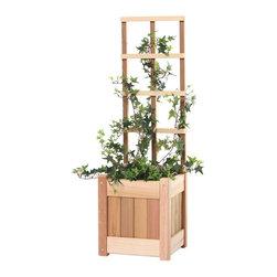 All Things Cedar - All Things Cedar PL10U-T 2pc. Planter w/ Trellis - Set includes:  1 -PL10U Planter Box with 1- CT10U Trellis.    Dimensions:   10 x 10 x 36 in. (w x d x h)