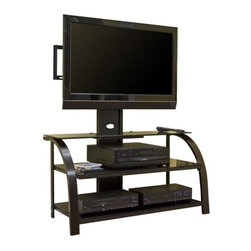 Sauder - Entertainment TV Stand w Panel Mount in Espre - Tiered, safety-tempered 2 glass shelves hold audio and video equipment. Back panel features cut-outs for easy cord access. Made of Black glass. Assembly required. 42 in. W x 22 in. D x 52 in. H