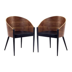 Modway - Cooper Dining Chairs Set of 2 in Walnut - Invest energies in a natural way with the Cooper Dining Chair with Chrome Legs. Sit content as a renewed sense of urgency sweeps through the curved wooden back and four-legged contemporary design. Positioned firmly on three legs with a broad recreational fourth leg, remain open to possibilities while balanced by constant support.