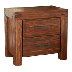 Modus Furniture - Modus Meadow Two Drawer Solid Wood Nightstand in Brick Brown - Two Drawer Solid Wood Nightstand in Brick Brown belongs to Meadow Collection by Modus The Meadow Collection is constructed from solid Acacia wood, a hardwood best known for its stunning grain and rich contrasting colors. Eco-friendly and durable, the lumber also possesses a three dimensional quality, as color and luster vary by lighting. Once assembled, each piece is wire brushed, stained, treated with a rustic glaze, and sealed with a protective lacquer Solid wood construction, mortise and tenon corners and English dovetail joinery mingle aesthetics with rugged durability. Full extension ball bearing drawer glides allow for maximum storage capacity and accessibility. Solid wood drawer boxes are sanded and stained to match the exterior finish and feature English dovetail corner joints. The wide platform bed frame uses a slatted mattress support system for use with or without a box spring. The multi-tonal quality of Acacia wood makes it an easy compliment to existing home decor. This modern rustic collection offers clean, straightforward styling to allow flexibility when designing around it. Complimentary colors range from muted and earthy to bright and crisp. Bold lines are ideal for the minimalist, calling only for an accent rug and bedding. For the more creative, natural ambience is easily embellished with modern, traditional, rustic or lodge-styled prints, patterns, and accessories. Nightstand (1)
