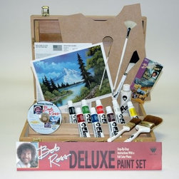 "Bob Ross Deluxe Wood Box Set with 1 Hour Dvd - Set contains everything needed to start painting like Bob. Clearly written instructions with a full color photo of the finished painting. Set includes a 30 minute Getting Started DVD which explains all the materials and their proper use. Set contains all of the following Bob Ross Materials: 8 each 37 ml (1.25 oz.) tubes of Oil Colors 118 ml (4 oz.) Liquid White #6 Fan Brush #10 Landscape Knife 1"""" Landscape Brush 2"""" Background Brush #2 Script Liner Brush. Plus a handled wooden case for permanent use includes palette and storage for materials and canvas."