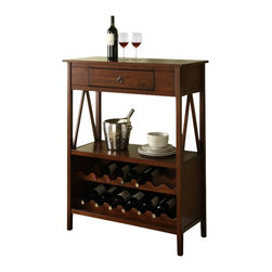 Linon - Linon Titian Wine Cabinet in Antique Tobacco - Linon - Wine Racks - 86161ATOB01KDU - Our Titian Collection has a simple yet eye-catching design that is matched with incredible durability.  The Wine Cabinet features a single storage drawer ideal for storing corks and bottle openers. The spacious top and lower shelf allow you to keep glasses and other necessities close at hand. The bottom portion of the cabinet allows you to safely store up to fourteen bottles of wine.  A neutral classic Antique Tobacco finish allows this piece to easily complement your homes decor.