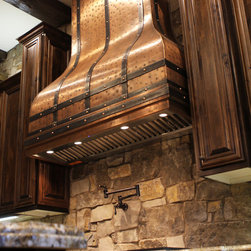 Art of Rain - Camillia Kitchen Copper Range Hood - by Art of Rain - Beautiful range hood built by Art of Rain. Overlapping iron straps and distressed copper make a wonderful contrast. If you are looking for old world and antique range hoods, look no further! Affordable custom range hoods hand built in USA.