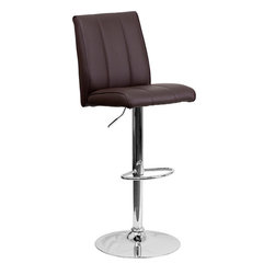 Flash Furniture - Flash Furniture Contemporary Brown Vinyl Adjustable Height Bar Stool - This sleek dual purpose stool easily adjusts from counter to bar height. The simple design allows it to seamlessly accent any area in the home. Not only is this stool stylish, but very comfortable to provide you with an amazing sitting experience! The easy to clean vinyl upholstery is an added bonus when stool is used regularly. The height adjustable swivel seat adjusts from counter to bar height with the handle located below the seat. The chrome footrest supports your feet while also providing a contemporary chic design. [CH-122090-BRN-GG]