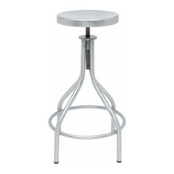 Nuevo Living - Maxime Adjustable Stool, Set of 2 - Style without simplicity just won't do for you, so here's the seating solution for your favorite setting. The peak of industrial chic, this stool is sturdily constructed of galvanized steel and easily adjustable to accommodate any family member or guest.