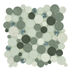 "Euro Glass - Grey Fizz Circles Grey Lagoon Series Glossy Frosted and Polished Glass and Stone - Sheet size: 11 1/8"" X 11 1/8"""