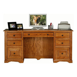 Eagle Furniture Manufacturers - Oak Ridge Double Pedestal Desk (Dark Oak) - Finish: Dark Oak. One keyboard/pencil drawer combo. Four letter drawers. Two raised panel file drawers. Designed with decorative molding. fluted detailing and finished back. Warranty: Eagle's products are guaranteed against material defects for one year from date of delivery to the dealer. Made in USA. No assembly required. 68 in. W x 24 in. D x 32 in. H (184.7 lbs.)The Oak Ridge collection combines American oak hardwood with updated contemporary styling. Heavy crown molding, sleek lines, fluted side molding, black brushed metal hardware, solid oak frames and solid oak recessed doors give this transitional collection a style all its own