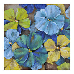Ren-Wil - Ren-Wil OL916 Seasons Square Canvas Wall Art by Olivia Salazar - A bold mix of turquoise, teal, yellow and green mix together expertly in this fun hand painted floral.