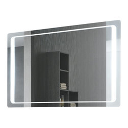 "Vanita And Casa - Rectangular Back-Lighted Mirror - Made in Italy by Vanita and Casa, this vanity mirror is constructed from mirrored glass and comes in a lovely polished finish. It is a wall mounted, lighted mirror and includes and ""on/off"" switch and a defogger function. This mirror looks looks great in a modern style bathroom. Lamp: T5-40W 2 pieces. Curved corners. Voltage: 110V. Mirror thickness: 0.79 inch. Safety PVC film packing. Defogger function. UL listed and certified. On/Off switch, Direct wire."