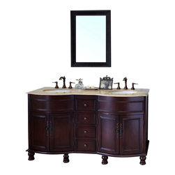 Bellaterra Home - 62 Inch Double Sink Vanity-Wood-Walnut-Travertine - This double sink bathroom vanity is the perfect choice for any master bathroom or big bathroom that needs additional storage space. Four drawers with full extension drawer glides and four doors installed with free swinging full wrap inset hinge allow full access to the interior. Birch + plywood