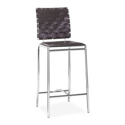 Zuo - Criss Cross Espresso Counter Chair (Set of 2) - Pull up to your counter for a meal or drink with a friend with this pair of distinctive counter chairs that feature criss-cross patterned leatherette strips on the chair backs. The supportive chrome frame ensures a long useful life for these chairs.