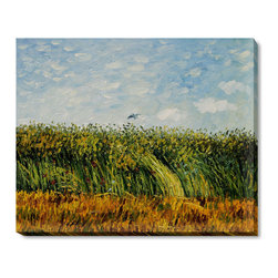 overstockArt.com - Van Gogh - Edge of a Wheat Field with Poppies and a Lark - Hand painted oil reproduction of one of the most famous Van Gogh paintings, Edge of a Wheat Field with Poppies and a Lark . The original masterpiece was created in 1887. Today it has been carefully recreated detail-by-detail to near perfection. Why settle for a print when you can add sophistication to your rooms with a beautiful fine gallery reproduction oil painting? Vincent Van Gogh's restless spirit and depressive mental state fired his artistic work with great joy and, sadly, equally great despair. Known as a prolific Post-Impressionist, he produced many paintings that were heavily biographical. This work of art has the same emotions and beauty as the original by Van Gogh. Why not grace your home with this reproduced masterpiece? It is sure to bring many admirers!