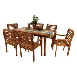 International Home Miami - Amazonia BT Milano Rectangular 7-Piece Patio Dining Set - Great Quality, elegant design patio set, made of solid eucalyptus wood. FSC (Forest Stewardship Council) certified. Enjoy your patio with style with these great sets from our Amazonia outdoor collection
