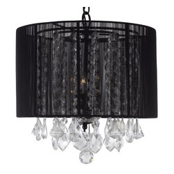 The Gallery - Crystal chandelier with Large Black Shade - 100% crystal chandelier. A Great European Tradition. Nothing is quite as elegant as the fine crystal chandeliers that gave sparkle to brilliant evenings at palaces and manor houses across Europe. This beautiful chandelier has 3 lights and is decorated and draped with 100% crystal that captures and reflects the light of the candle bulbs. This wonderful chandelier also comes with the large shade as shown. The timeless elegance of this chandelier is sure to lend a special atmosphere anywhere its placed! This item comes with 18 inches of chain.