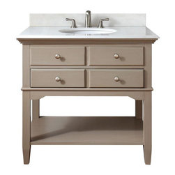 Pegasus - Pegasus Cannes 36in. Vanity, Distressed Grey with Marble Top, Distressed Grey - Cannes 36 in. Vanity in Distressed Grey with Marble Vanity Top in White with White Basin