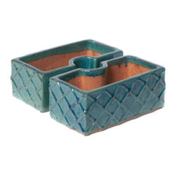 Alfresco Home - Alfresco Home Trellis Square Umbrella Planter - 38-1085 - Shop for Planters and Pottery from Hayneedle.com! Accentuate your patio table with the handmade Alfresco Home Trellis Square Umbrella Planter. Perfect for planting herbs and flowers this two-piece ceramic kiln-fired planter fits around a standard umbrella pole up to two diameter inches. Available in select finish options this planter keeps its color by wiping clean with a soft cloth and warm water. Do not clean with harsh chemicals.About Alfresco HomeOffering a wide selection of fashionable products from casual furniture and garden lighting to permanent botanicals and seasonal decor Alfresco Home casual living products offer a complete line of interior and exterior living furnishings and accents. Based out of King of Prussia Penn. Alfresco Home continues to blend indoor and outdoor furniture to create a lifestyle of alfresco living inside and outside of the home. Inlaid mosaic tabletops fine hardwood furnishings artisan-inspired accents premium silk botanicals and all-weather wicker sets are just a few examples of the kind of treasures you'll find in Alfresco's specially designed collections.